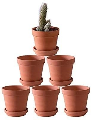 Yishang Terra Cotta Pots with Saucer Ceramic Tray 6 Pack large Terracotta Pots Clay Pots 4 6  Clay Ceramic Pottery Planter Cactus Flower Pots Succulent Pot Drainage Hole  Great for Plants Crafts