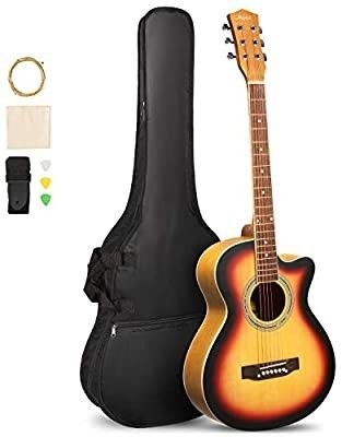 ARTAll 39 Inch Handcrafted Acoustic Cutaway Guitar Beginner Kit