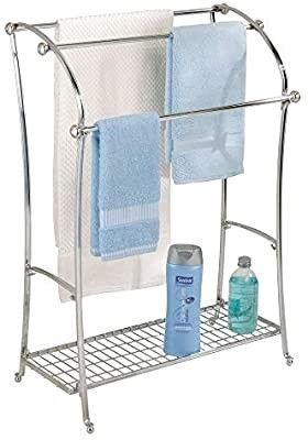 iDesign York Metal Free Standing Towel Drying Rack with Shelf