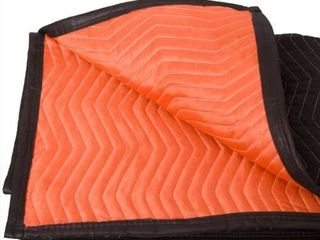 Forearm Forklift FFMB Full Size Medium Weight Quilted Moving Blanket  45 6 lb dz  72  x 80  Blaze Orange Black
