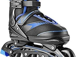Hikole Inline Skates Women Men Teens  Adjustable Roller Skates  Safe and Durable Outdoor Blades Roller Skates for Girls and Boys  Men and ladies size large  see size chart picture