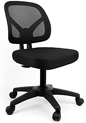 Ergonomic Office Chair Mid Back Desk Chair Works Drafting Chair Mesh Support Task Computer Chair Without Arms Home Office Chair Desk Swivel Adjustable Chair in Black