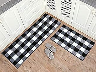 Carvapet 2 Pieces Buffalo Plaid Check Rug Set Water Absorb Microfiber Non Slip Kitchen Rug Bathroom Mat