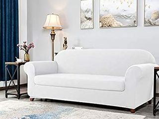 DyFun 2 Piece Sofa Slipcover Knit High Stretch Couch Cover Fitted Armchair Couch Cover Furniture Protector for living Roomi1 4loveseat White