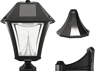 Gama Sonic GS 105FPW BW Baytown II  Outdoor Solar light and 3  Pole Pier   Wall Mount Kits  lamp Only  Bright White lED  Black