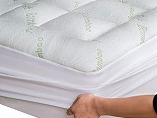 Bamboo Mattress Topper Cover Queen  1 Pillow Protector Cooling Pillow Top Mattress Fits 8 20 Inches Deep Mattresses Pad Breathable Extra Plush Thick Extra Deep Fitted 20 Inches Rayon