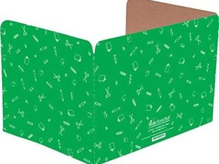 Really Good Stuff Standard Privacy Shields for Student Desks a Set of 12   Matte   Study Carrel Reduces Distractions   Keep Eyes from Wandering During Tests  Green with School Supplies Pattern