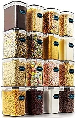 Airtight Food Storage Containers   Wildone Cereal   Dry Food Storage Container Set of 16  54oz  1 6l  for Sugar  Flour and Baking Supplies  leak proof   BPA Free  with 20 labels   1 Marker