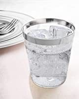 Clear Plastic Disposable Party Cups  50 Count  14 Oz Silver Rim Cups   Fancy Reusable Plastic Tumblers  Silver  14 Ounce