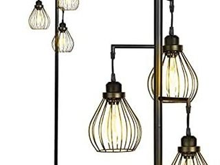 Brightech Teardrop   Floor lamp Matches Industrial  Farmhouse   Rustic living Rooms a Standing Tree lamp with 3 Elegant Cage Heads   Edison lED Bulbs   Tall Vintage Pole light   Black