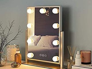 FENCHIlIN Hollywood Mirror with light Small lighted Makeup Mirror Vanity Makeup Mirror Smart Touch Control 3Colors Dimable light Detachable 10X Magnification 360ARotation White
