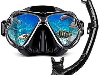 Snorkel Set Silicone Snorkeling mask Set for Adults and Youth  Foldable Dry Top Snorkel Anti leak Anti Fog Adjustable Diving Mask Gear Mesh Bag for Snorkeling  Diving  Swimming   set of 2