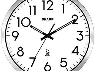 Sharp Atomic Analog Wall Clock   12  Silver Brushed Finish   Sets Automatically  Battery Operated   Easy to Read   Easy to USE  Simple  Easy to Read