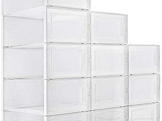 Waytrim Foldable Shoe Box Stackable Clear Shoe Storage Box   Storage Bins pack of 12