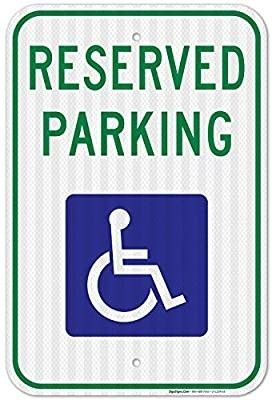Handicap Parking Sign  Reserved Parking Sign  large 12x18 3M Reflective  EGP  Rust Free  63 Aluminum  Weather Fade Resistant  Easy Mounting  Indoor Outdoor Use  Made in USA by SIGO SIGNS