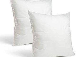 Set of 2 18 x 18 Premium Hypoallergenic Stuffer Pillow Inserts Sham Square Form Polyester  Standard White   Made in USA