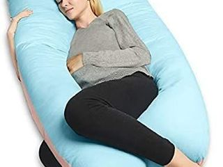 QUEEN ROSE 55in Pregnancy Pillow  U Shaped Full Body Pillow for Back Support with Cooling Cover for Anyone Blue and Pink