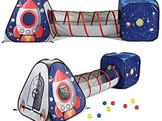 UTEX 3pc Space Astronaut Kids Play Tent  Pop Up Play Tents with Tunnels for Kids  Boys  Girls  Babies and Toddlers  Indoor Outdoor Playhouse aStem Inspired Design W Solar System   Planet