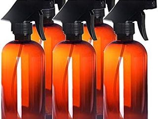 5 Pack Empty Amber Plastic Spray Bottles 16 Oz Sprayer With Mist And Stream
