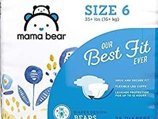 Mama Bear Best Fit Diapers 25 count Size 6 Wetness Indicator Absorbent Material