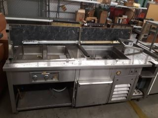 Stainless steel counter with Two Steam wells