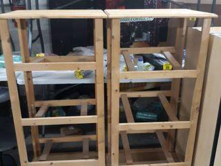 2 wooden display racks