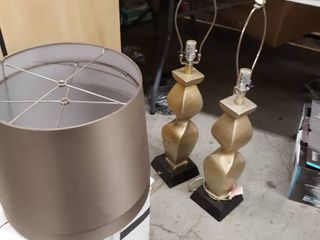 Two Golden lamps with Dark Shades