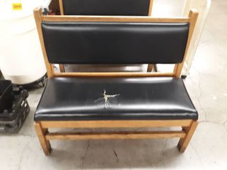 Waiting Space Wooden Bench with black leather Cushions
