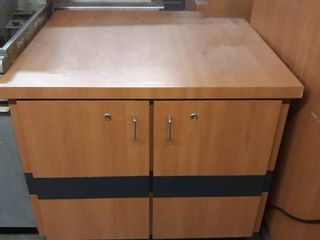 Wood Counter With Two Door Storage
