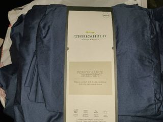 Queen Size 400 Thread Count Solid Performance Sheet Set Threshold Metallic Blue
