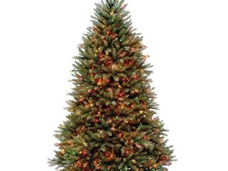 7 5ft National Christmas Tree Company Full Dunhill Fir Hinged Artificial Christmas Tree 750ct Bulb Multicolored  works
