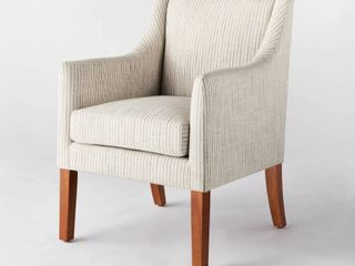 Set of 2   Clearfield Swoop Arm Dining Chair Tan Striped   Threshold designed with Studio McGee