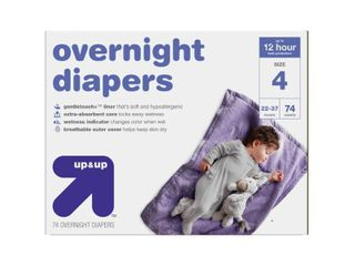 Overnight Diapers   Size 4   74ct   Up Up   Size  Size 4  74 Count  White   half full box