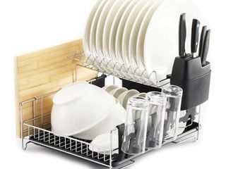 PremiumRacks Professional Dish Rack   304 Stainless Steel   Fully Customizable   Microfiber Mat Included   Modern Design   large Capacity   all there