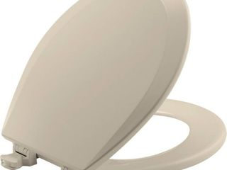 Bemis 500EC146 Molded Wood Round Toilet Seat With Easy Clean and Change Hinge  Almond