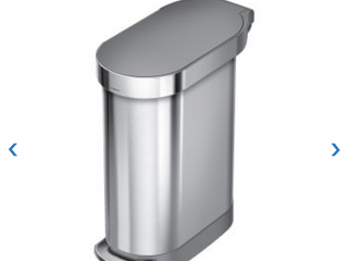 simplehuman Slim Stainless Steel Step Trash Can  12 Gallon  Stainless Steel Gray