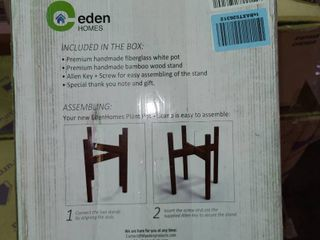 EdenHomes Mid Century Modern 10 Inch Flower Plant Stand with Pot Set