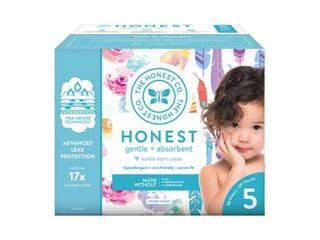 The Honest Company Disposable Diapers Rose Blossom   Painted Feathers   Size 5   50ct