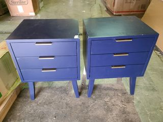 Set of Two Blue night stands   see photos damaged