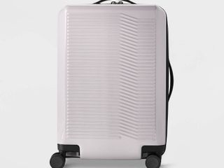 Hardside 21  Carry On Spinner Suitcase Violet Ice   Open Story   Purple White