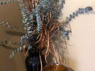Orange Glass and Decorative Vase