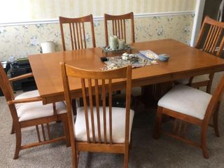 Poundex Oak Dining Table with 6 Chairs