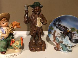 Figurines and Bald Eagle Plate