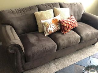 like New Brown Suede Sofa