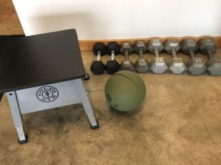 10 25lb Dumbbells  Step Box  and Medicine Ball