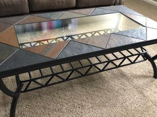 Tile and Glass Top Coffee and End Table
