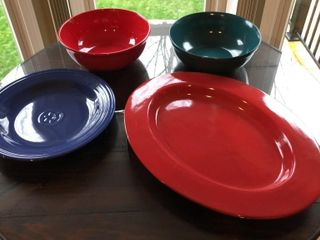 5  Colored Platters and Bowls
