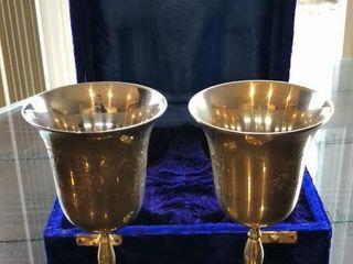 Brass Goblets with Velvet Box