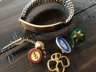 Girl Scout Pins and Bracelet
