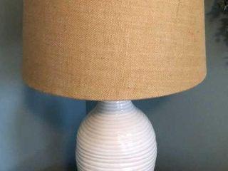 White Ceramic lamp with Burlap Shade